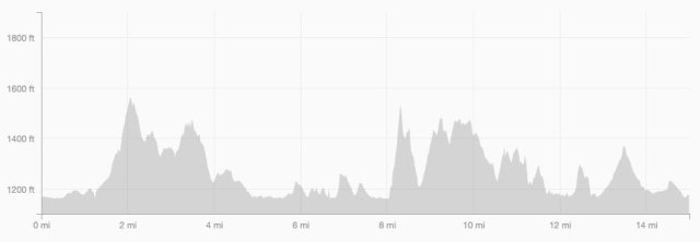 Elevation profile - lots of ups and downs from mile 8 to finish